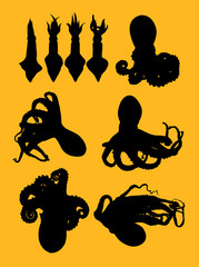 Squids and octopus animal gesture silhouette. Good use for symbol, logo, web icon, mascot,  sign, or any design you want.