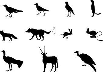 Set of black silhouettes of central asian animals and birds, vector illustration.