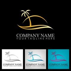 gold palm tree ocean beach logo