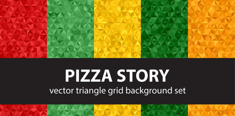 "Triangle pattern set ""Pizza Story"". Vector seamless backgrounds"