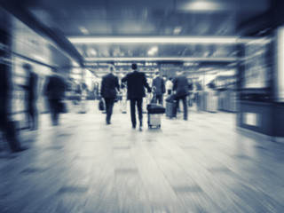 Business People walking Train station Commuter Business travel