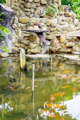Asian Decorative Pond With Carps Stock Photo And Royalty
