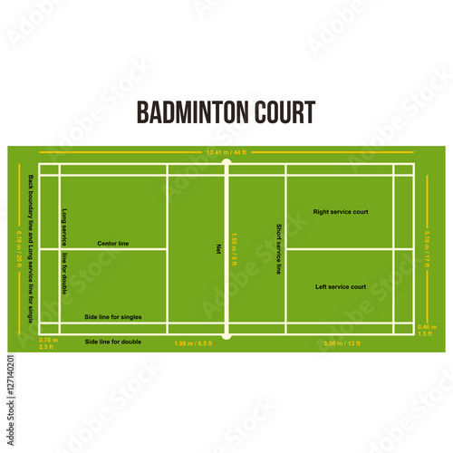 Badminton Court Field Vector Illustration With Size And Dimension