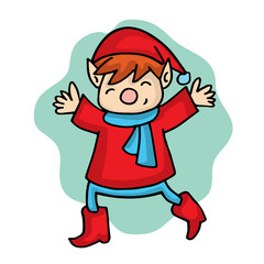 Cartoon elf with red costume