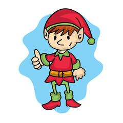 Elf pose cartoon Christmas theme