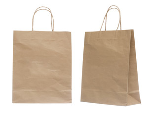 Brown Shopping Bag Isolated on White Background.