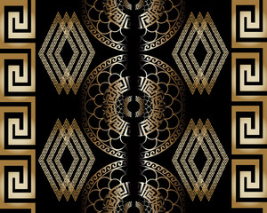 Modern royal black abstract geometric vector seamless pattern background wallpaper illustration with gold  3d vintage greek key, circles and venetian ornaments.3d decor with shadows and highlights