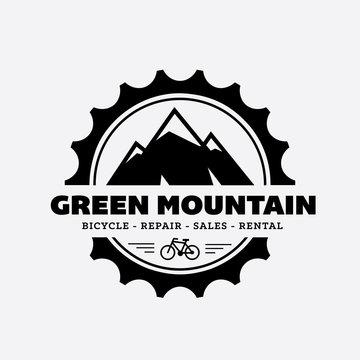 Mountain logo, Mountain and gear symbol.