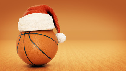 Christmas concept. Orange basket ball. 3d rendering
