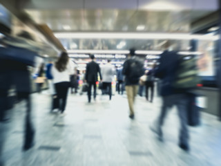 People walking Blur moving Businessman inTrain station Travel Background