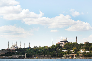 historical skyline of Istanbul with mosques surrounded by trees