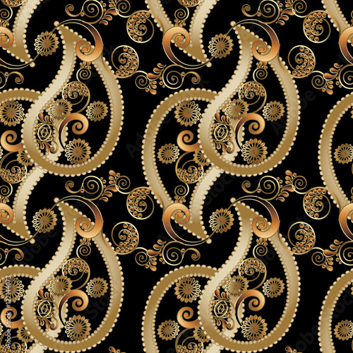 """Black royal floral paisleys vector seamless pattern with"