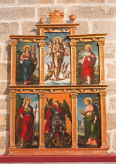 AVILA, SPAIN, APRIL - 18, 2016: The side altar in Catedral de Cristo Salvador by unknown artist of 16. cent.