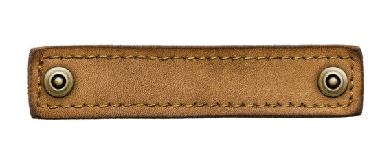 leather jeans label with rivets