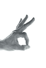 Black and white image of a hand gesture on white background
