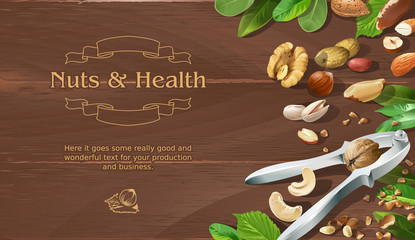 Mix of natural raw nuts on wooden background