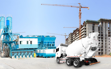 Concrete plant and A Cement Delivery Lorry at construction site