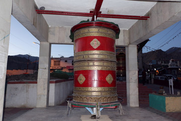 Buddhist prayer wheels in Boddha monastery Leh Ladakh, Jammu & Kashmir.