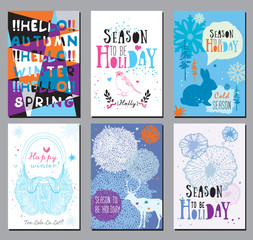 Winter holidays, seasons greeting cards and illustrations.