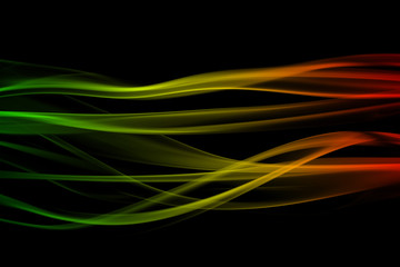 abstract background smoke curves and wave reggae colors green, y