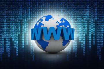 3d online On-line illustration with globe