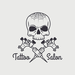 Vector retro tattooing art shop emblem with skull