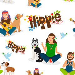 Hippie girls and barefoot man with dog seamless pattern. Vector illustration