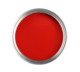 Decorative paint on white background, top view