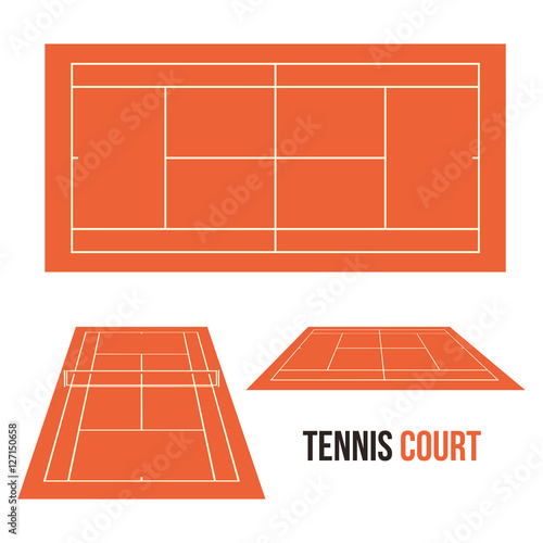 Quot tennis clay court field vector drawing illustration