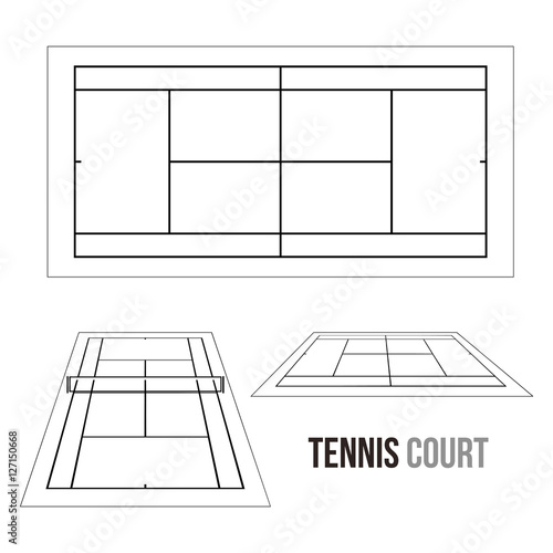 Quot tennis court field vector drawing illustration stock