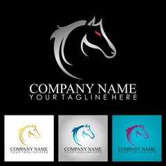 metalic horse head drawing abstract logo
