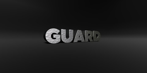 GUARD - hammered metal finish text on black studio - 3D rendered royalty free stock photo. This image can be used for an online website banner ad or a print postcard.