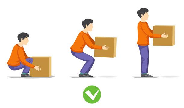 Safety correct lifting of heavy box vector illustration