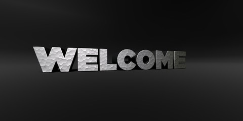 WELCOME - hammered metal finish text on black studio - 3D rendered royalty free stock photo. This image can be used for an online website banner ad or a print postcard.
