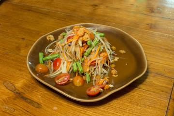 Papaya salad Thailand favorite food