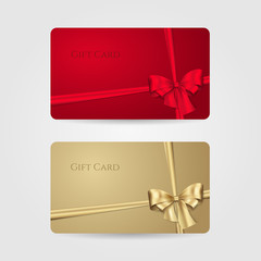 Red and golden gift cards with bow and ribbons. Vector template for design invitation and credit or discount card. Isolated from a background.