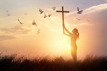 Fototapete - Woman praying with cross and flying bird in nature sunset background