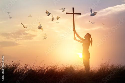 Leinwandbilder Woman praying with cross and flying bird in nature sunset background