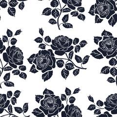 Foto auf Leinwand Blumen weiß - schwarz Floral seamless texture with roses.