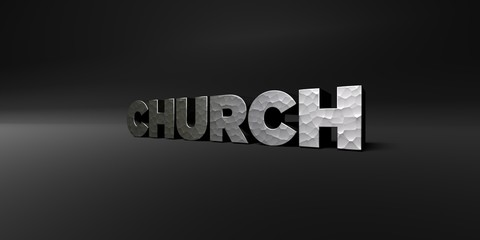 CHURCH - hammered metal finish text on black studio - 3D rendered royalty free stock photo. This image can be used for an online website banner ad or a print postcard.