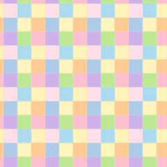 カラフルでかわいいパッチワーク風シームレスパターン