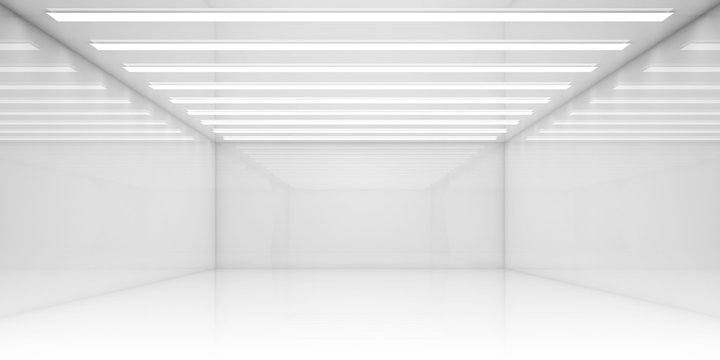 Empty 3d white room with stripes of ceiling lights