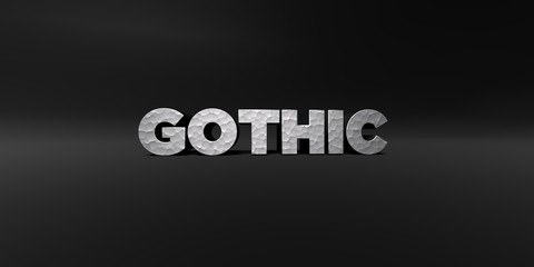 GOTHIC - hammered metal finish text on black studio - 3D rendered royalty free stock photo. This image can be used for an online website banner ad or a print postcard.