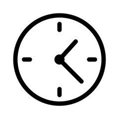 Simple clock face, clockface or watch face with hands line art icon for apps and websites