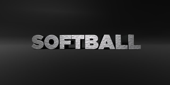 SOFTBALL - hammered metal finish text on black studio - 3D rendered royalty free stock photo. This image can be used for an online website banner ad or a print postcard.