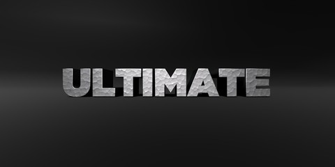 ULTIMATE - hammered metal finish text on black studio - 3D rendered royalty free stock photo. This image can be used for an online website banner ad or a print postcard.