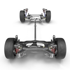 Car chassis without engine on white. Front view.3D illustration