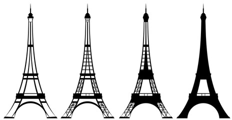 eiffel tower black and white vector outline and silhouette set Wall mural