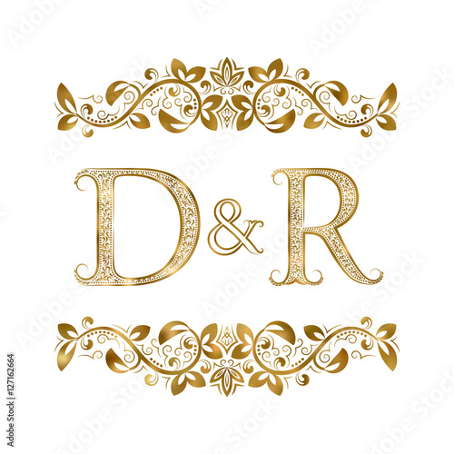 D And R Vintage Initials Logo Symbol The Letters Are Surrounded By