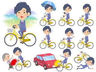Stripe suit perm hair men ride on city bicycle